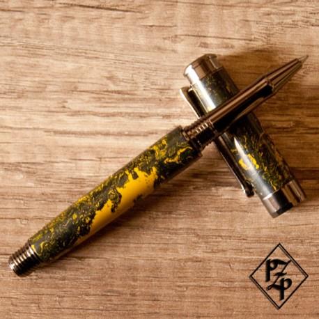 Stylo Le Lêveche Roller en ébonite verte et jaune